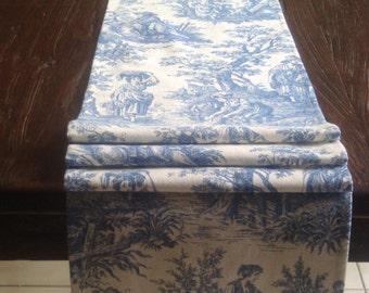 Waverly Blue Runner Waverly Toile Runner Cottage Table Runner Country Life Print Table Runner 12x74 Unlined