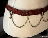 Daya Goddess Compassion   Tribal boho brown leather gypsy chain belt wrap bellydance tribal fusion
