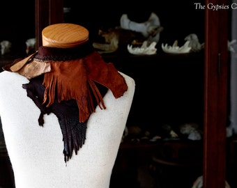 Times of Change     Leather rich brown deer leather neck crowl scarf neck piece  leather burning man tribal fusion larp belly dance