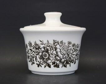 Vintage Brown Floral Lidded Sugar Bowl (E5372)