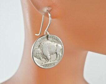 Nickel earrings  / USA Coin Earrings /  BUFFALO  head nickels / Indian Head Earrings. United States  - Partsforyou No.0066