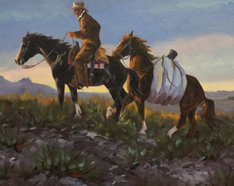 Ron Stewart Original Oil Painting . Signed . Western Art. Arizona. Cowboy. On the Ridge  cs