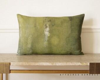 Bring nature in, woodland Linen oblong  pillowcase. original printed. Khaki green.. On the stump /  FRAGMENTS