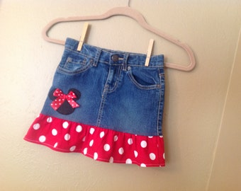 Minnie Mouse skirt 6x/7 only -  upcycled  -refab - Disney Vacation- Ready to Ship