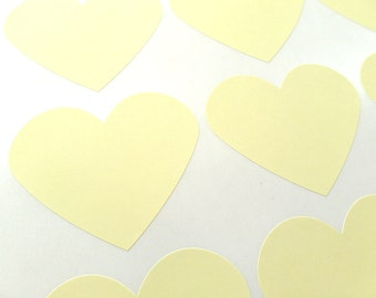 "Large Pastel Yellow Heart Sticker, Heart Stickers 2.275"" x 1.8"" - Set of 30"