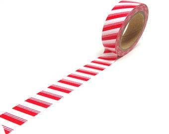 SALE! Red Washi Tape, Candy Cane Washi Tape, Red Stripe Washi Tape 15mm x 10m