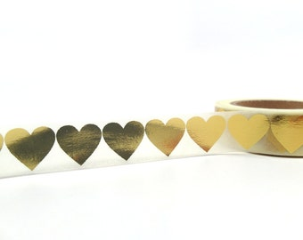 Gold Heart, Gold Foil Washi Tape, Gold GIft Wrap Tape