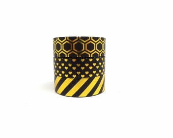 Black and Gold Stripe, Heart, Honeycomb Washi Tape Set of 3