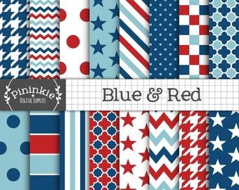 Blue Digital Paper Pack, Red White and Blue Digital Paper, Baby Boy Digital Paper, Stars and Stripes, Digital Download, Digital Scrapbook