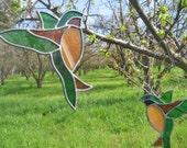 70s Handmade Stained Glass Hummingbird Suncatcher