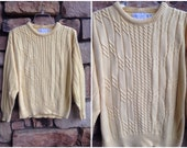 80s Preppy Cableknit Canary Sweater
