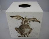 Wild Rabbit Tissue Box Cover wooden handmade