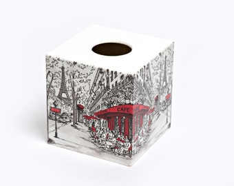 Cafe de Paris Tissue Box Cover wooden handmade in UK perfect in homes/ hotels