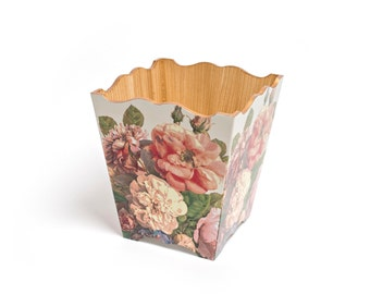 English Rose Waste Basket  handmade wooden