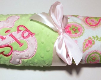 SALE Monogrammed Minky Baby Blanket - Paisley, Hot Pink and Lime Green, Personalized Blanket with name Newborn