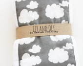 New Baby Burp Cloth - Set of 2 - Grey Clouds