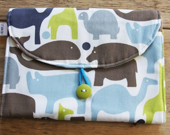 Travel Changing Pad - Diapering on the Go - Blue Options for front and inside styles to choose from