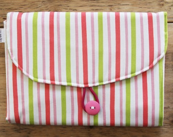 Baby Diaper Changing Pad - Diapering on the Go - Pink Yellow Green Stripes with Animals