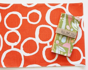 Small Sized Cotton Handmade Placemats  - 9 colors to choose from - Free Hand Circles