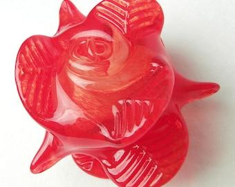 Stunning Handmade Glass Rose Paperweight, Fire Red