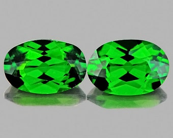 Bright Green Chrome Diopside Faceted Ovals 6 x 4 MM, Perfect Matched Pair 1.11 Ct TW, Natural