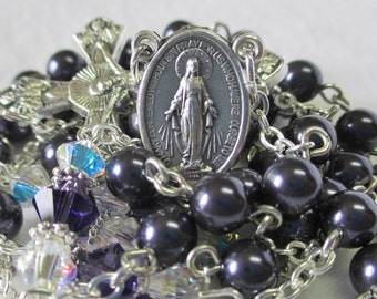 Handmade Rosary, Dark Purple Swarovski Crystal Pearls, Miraculous Medal Center, Vines and Branches Crucifix