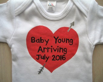 Pregnancy Announcement,Infant One Piece ,Annouce you are Expecting on Facebook,Instagram,Holiday Pregnancy Annoucement with Name and Date