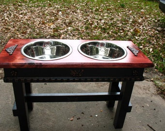 Two Tone Elevated Pet Feeder, Large Dogs Feeding Station, Red Oak Stained Top, Cottage Chic Two quart Paw Print Dog Bowls Made To Order