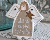 Ask the Godmother Gift Salt Dough Angel Ornament Personalized Godmother Gift