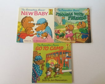 Set of 3 The Berenstain Bears First Time Books New Baby, The Trouble with Friends, Go to Camp, Children's Books, Children's Stories