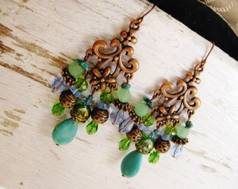 Copper bohemian earrings, long copper turquoise green chandelier earrings