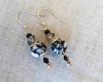 Lampwork glass earrings, Black white crystal lampwork glass earrings