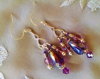 Purple chandelier earrings, Purple teardrop chandelier earrings with crystal and silver