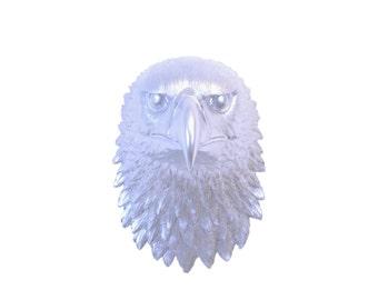 All Metallic Silver Eagle Wall Mount- National Bird Faux Taxidermy- EA10