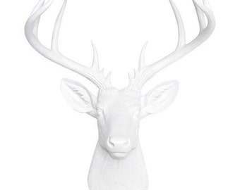 Large Deer Head - White Deer Head Wall Mount - 14 Point Stag Head Antlers Faux Taxidermy ND0101
