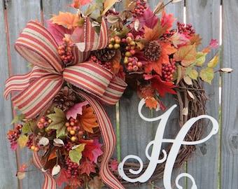 Fall Burlap Weath, Burlap bow Wreath with Fall Stripe, Autumn Leaves and Berries, Fall / Autumn Decoration, Fall Initial Wreath, Monogram