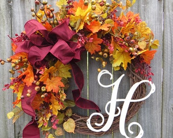 Wreath, Fall Decoration, Fall Wreath, Halloween Wreath, Burgundy and Orange Fall Decor, Wreath for Door, Bright colors