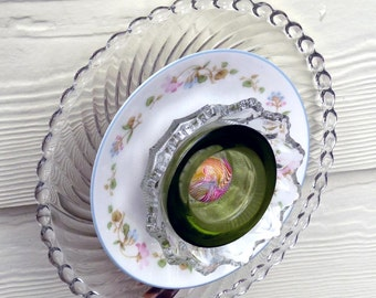 Glass garden flower, garden art, yard art, suncatcher, sun catcher, fence decor, wall decor, plant stake