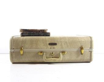 Vintage Tan Leather Suitcase, Vintage Luggage