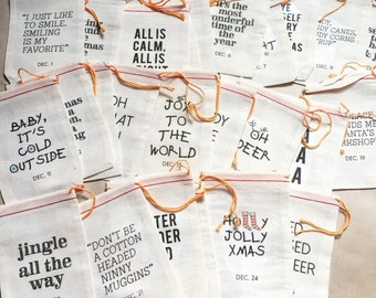 25 Muslin Bags - Advent Calendar, Christmas Countdown, Muslin Bags, Modern Typography