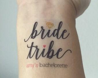 10 Bachelorette Party Temporary Tattoos, Bride Tribe, Team Bride - Custom