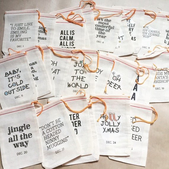 Typography Advent Calendar : Items similar to muslin bags advent calendar