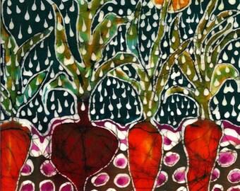 "Garden pillow fabric  -  ""Summer Rain on Garden"" -  fabric for pillow - from original - Custom printed fabric"