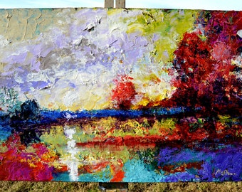 Abstract Impressionist Original Landscape Painting - Bright Afternoon 36  x 24 inch Canvas Ready to Hang by Claire McElveen