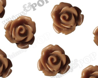 Caramel Brown Rose Cabochons, Flower Cabochons, Flower Cabs, 10mm Rose Cabochons, Flat Back Roses, 10mm x 6mm (R1-063)
