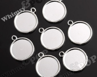 Silver Bezel Cameo Setting Charm Pendant Blanks, 20mm Cameo Pendant, Fits 20MM Round Cabochon, 20mm Cabochon Setting (R2-154)