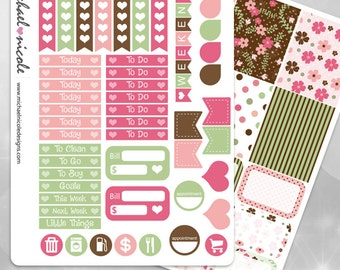 Floral Art Weekly Planner Stickers perfect for Erin Condren Planner | Item MP-017