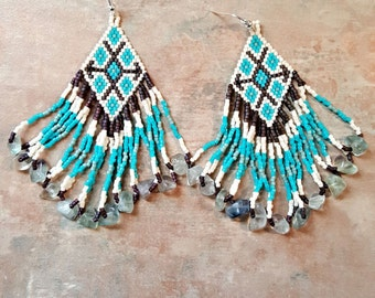 Beautiful Native American Style Geometric Beaded Earrings With Genuine Fluorite Stones/Loop Fringe