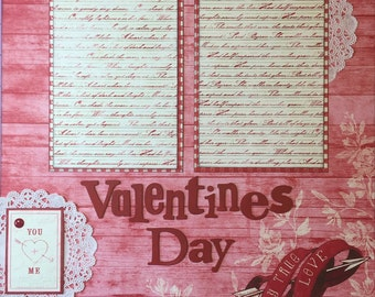 Valentines Day - 12x12 Premade 2 Page Scrapbook Layout