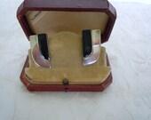 Large Vintage Sterling Silver & Onyx Pair Post earrings